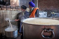 Making chai. Volunteers cooking for the pilgrims who visit the Golden Temple, Each day they serve free food for 60,000 - 80,000 pilgrims, Golden templ...