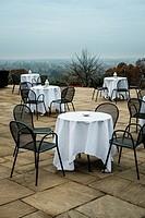 Empty tables,Pembroke Lodge, Richmond Park,West London,England.