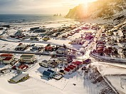 Vik Myrdal, a small village on the South Coast, Iceland. Drone Photography