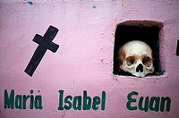 A skull is displayed in the Mayan village of Pomuch, Hecelchakan, Campeche, Yucatán península, October 30, 2016, as part of Day of the Dead celebratio...