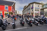 Motorbikes lined-up, Menningarnott, Annual Cultural Festival to mark the end of the summer, Reykjavik, Iceland.