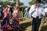 Romeria processionin Rocio in Huelva and Seville, Andalusia, Spain. Pilgrims between Huelva and Almonte.