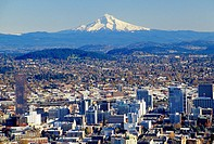 Downtown view with Mt Hood from Pittock Mansion, Portland, Oregon.