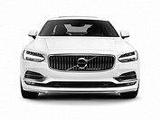 White 2017 Volvo S90 T6 AWD luxury car front view isolated on white background with clipping path.