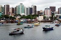Fishing boats at Santa Maria River, Pontal de Camburi, Vitoria, Espirito Santo, Brazil.