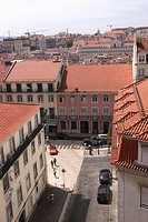 Aerial view of Lisbon rooftops Portugal.