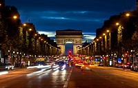 Arc de Triompthe and Champs Elysees in evening, France.