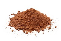 Heap of cocoa powder on white background.