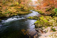 River Brathay at Skelwith Bridge in autumn. Lake District National Park, Cumbria, England.