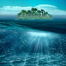 Beauty tropical island in the blue ocean with underwater landscape.