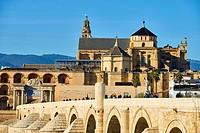 The Roman Bridge and Cordoba Mosque, Guadalquivir River, Cordoba, Spain, Europe.