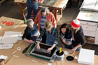 Seattle, Washington: Supporters turned out in droves at the Screen Printing Work Party on Saturday for the Womxn's March on Seattle. Led by artists Kr...