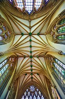 Vaulted ceiling of the chapel of the Bishops Palace of the the medieval Wells Cathedral built in the Early English Gothic style in 1175, Wells Somerse...