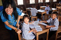 School in Panyee sea gypsy fishing village, Phuket Thailand. Sea gypsy village at Koh Panyee, Phang Nga Bay, Thailand, Asia.