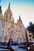 Cathedral of the Holy Cross and Saint Eulalia, also known Barcelona Cathedral. Barcelona, Catalonia, Spain.