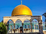 Dome of the Rock Islamic Mosque Temple Mount Jerusalem Israel. Built in 691 One of most sacred spots in Islam where Prophet Mohamed ascended to heaven...