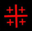 Red Crusader Cross Black Background Church of the Nativity Bethlehem West Bank Palestine. Chruch located above cave/grotto where Jesus was born. Locat...