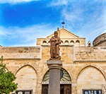 Saint Jerome Statue Saint Catherine Church Church of the Nativity Bethlehem West Bank Palestine. Saint Jerome lived in Bethlehem 384 AD. Location of J...