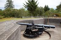 Cannon, Battery Pratt, Fort Stevens, historical site, area of Warrenton, Astoria, Oregon, USA, America.