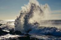 Spectacular wave crashing into rocks of Atlantic Ocean shore in Nevogilde civil parish of Porto, second largest city in Portugal.