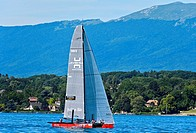 Sailing boat SUI 5 Team Til sailing on Lake Geneva, Bol d'Or Mirabaud regatta, Geneva, Switzerland.
