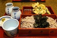 Kakiage tempura shrimp, vegetable mix fried and morisoba noodles served at restaurant in Ikegami, Tokyo. Japan.