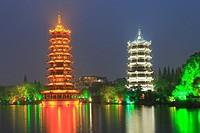 Sun and Moon Twin Pagodas, Guilin, Guangxi, China.