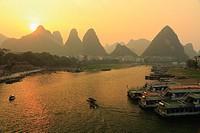 Sunset at Yangshuo Town, Li River, Guangxi, China.
