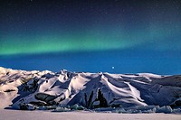 Northern Lights over Russell Glacier, Kangerlussuaq, Artic Circle, Greenland, Europe.