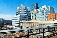 New York City, Manhattan. Looking West from the High Line at West 16th Street.