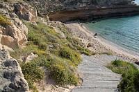 Comte Beach and Cliffs; Ibiza; Spain.