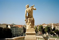 Statue on the the Chateau D'eau in the Palais Longchamp in Marseille in Provence in Bouches du Rhone in France in Europe.