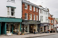 Colourful Shops In The High Street, Lewes, Sussex, UK.