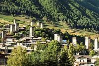 Traditional Svanetian towers, Unesco World Heritage Site, Medieval village of Mestia, Svaneti region, Georgia.
