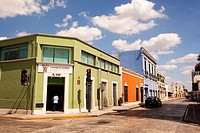 View to the colorful colonial buildings in the city center, Merida, Yucatan Province, Mexico, Central America.