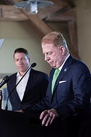 Seattle, Washington: Mayor Ed Murray ended his reelection campaign at a press conference surrounded by supporters, staff and his husband Michael Shios...