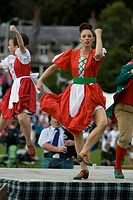 Traditional Scottish Highland dancers. Highland Games. Aboyne. Aberdeenshire. Scotland. Europe.