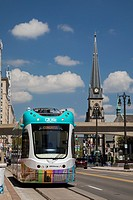 Detroit, Michigan USA - 12 May 2017 - The QLine streetcar began operating on a 3. 3-mile route on Woodward Avenue, the first streetcars in the city si...