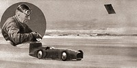 Sir Malcolm Campbell, inset, and his racing car Bluebird in 1931. Sir Malcolm Campbell, 1885- 1948. English racing motorist and motoring journalist. H...