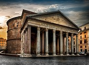 Ancien Pantheon and cloudy sky at sunrise in Rome, Italy.