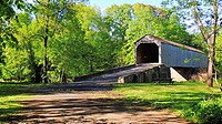 The old Scofield-Ford wooden bridge greets another spring in Newtown, Pennsylvania, USA.
