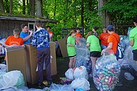 Middle School Students Sorting Cans, Wellsville, New York, USA.