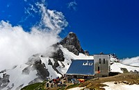 Rambert hut, Cabane Rambert, of the Swiss Alpine Club, peak Petit Muveran behind, Ovronnaz, Valais, Switzerland.