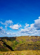 Crater of Rano Kau Volcano, Easter Island, Chile.