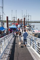 Access gangway to the floating fresh fish market at Steveston near the city of Vancouver, British Columbia, Canada