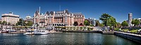 Panoramic city skyline of The Fairmont Empress historic hotel and harbour front in Victoria, Vancouver Island, British Columbia, Canada 2017, National...