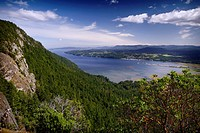 North Cowichan Valley and Genoa Bay aerial nature scenery with mountains in the background from a Mount Tzouhalem mountain top lookout. North Cowichan...