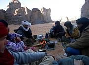 Tuaregs in campfire. El Ghessour. Tassili Ahaggar. Sahara desert. Algeria.