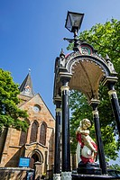 Anderson Memorial Drinking Fountain in front of the Dornoch Cathedral, parish church in the Church of Scotland, Sutherland, Highland, Scotland