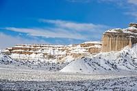 Fresh snow in the desert, near Henrieville, Utah, USA.